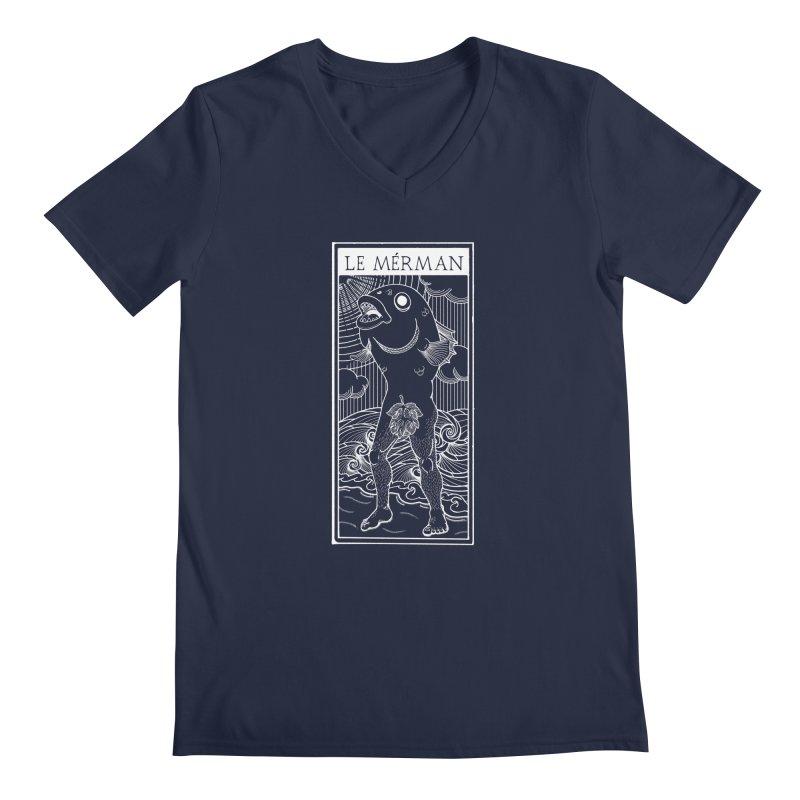 The Merman (dark shirt version) Men's Regular V-Neck by Creaturista's Fine Goods