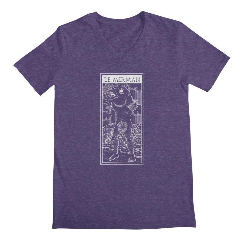 The Merman (dark shirt version) Men's V-Neck by Creaturista's Fine Goods