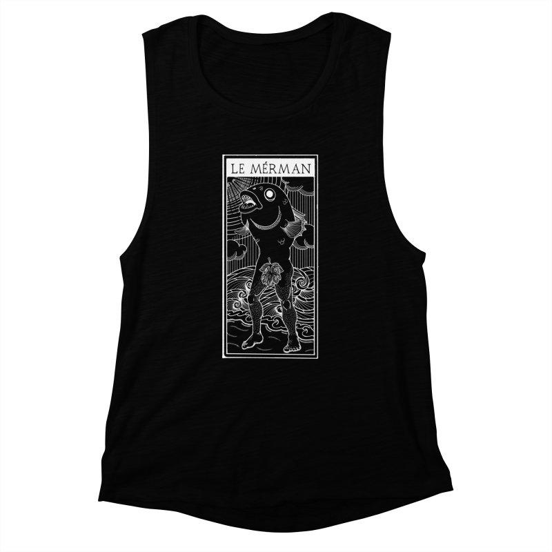 The Merman (dark shirt version) Women's Muscle Tank by Creaturista's Fine Goods