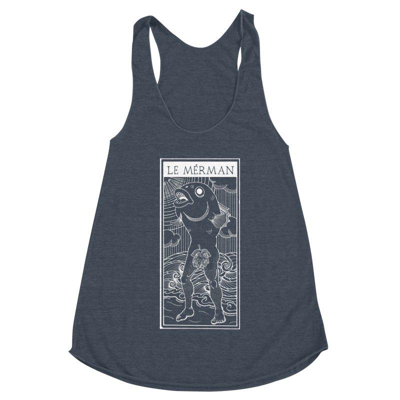 The Merman (dark shirt version) Women's Racerback Triblend Tank by Creaturista's Fine Goods