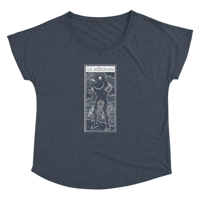 The Merman (dark shirt version) Women's Dolman Scoop Neck by Creaturista's Fine Goods