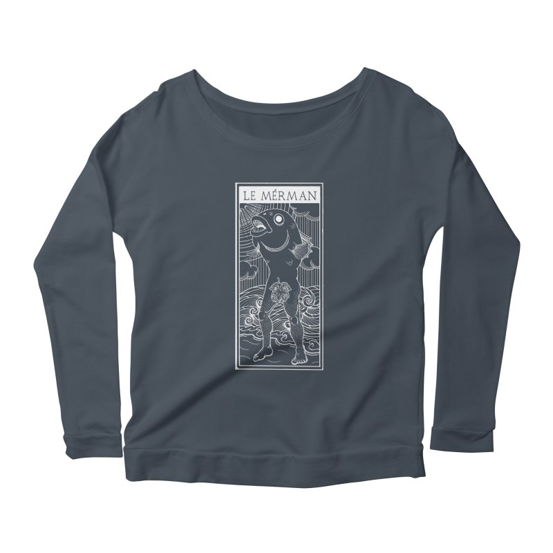 The Merman (dark shirt version) Women's Scoop Neck Longsleeve T-Shirt by Creaturista's Fine Goods