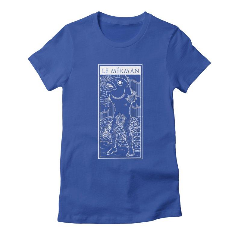 The Merman (dark shirt version) Women's Fitted T-Shirt by Creaturista's Fine Goods