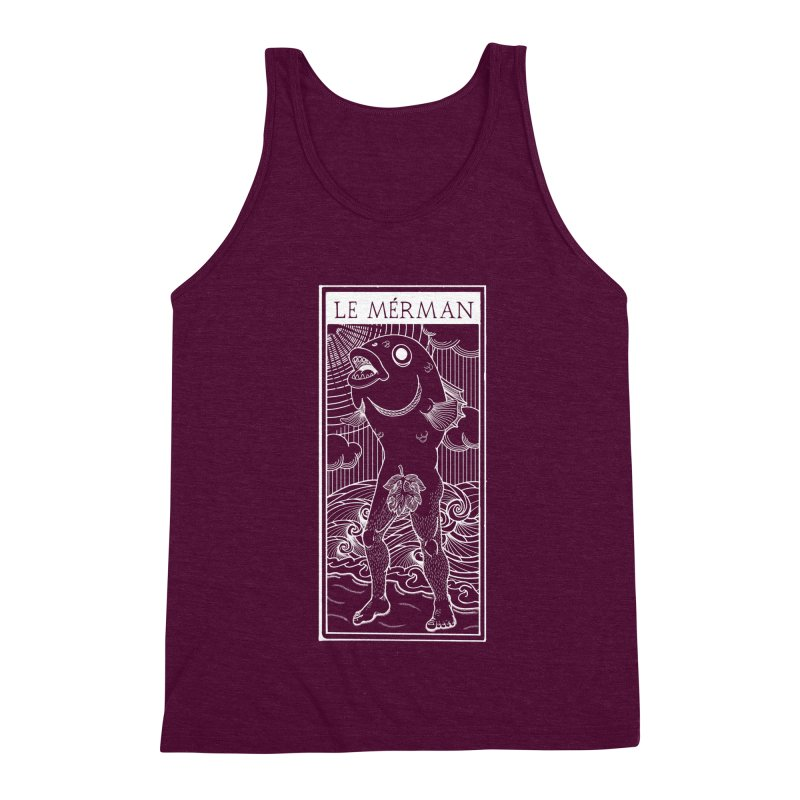 The Merman (dark shirt version) Men's Triblend Tank by Creaturista's Fine Goods
