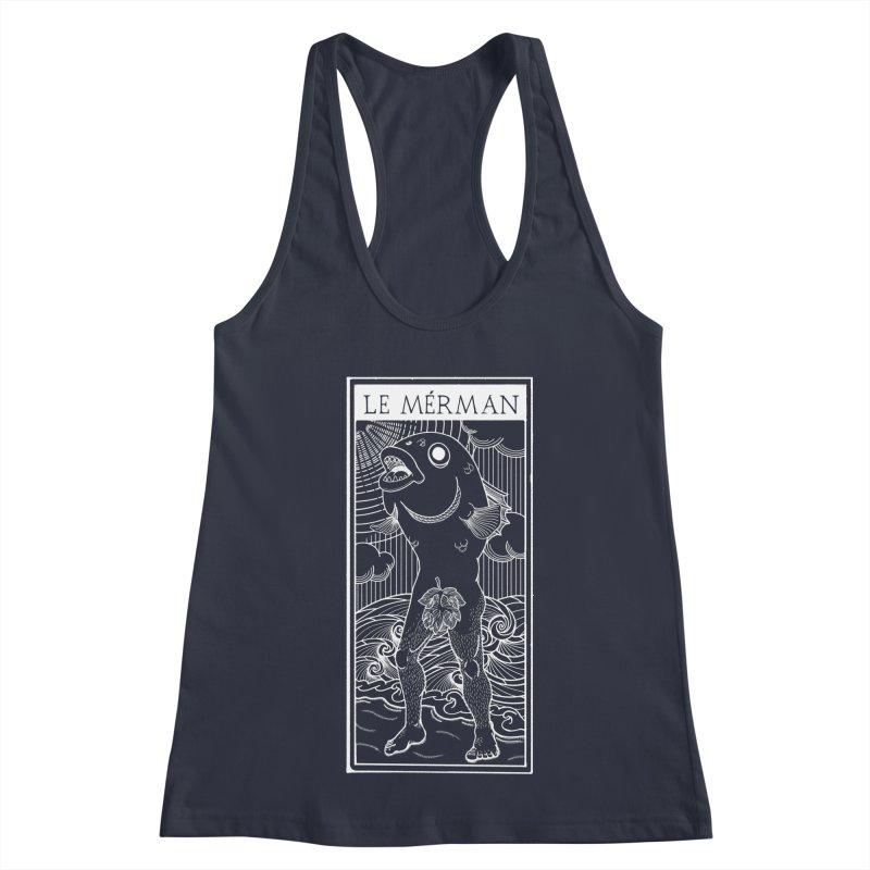 The Merman (dark shirt version) Women's Racerback Tank by Creaturista's Fine Goods