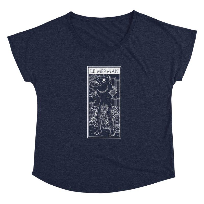 The Merman (dark shirt version) Women's Scoop Neck by Creaturista's Fine Goods