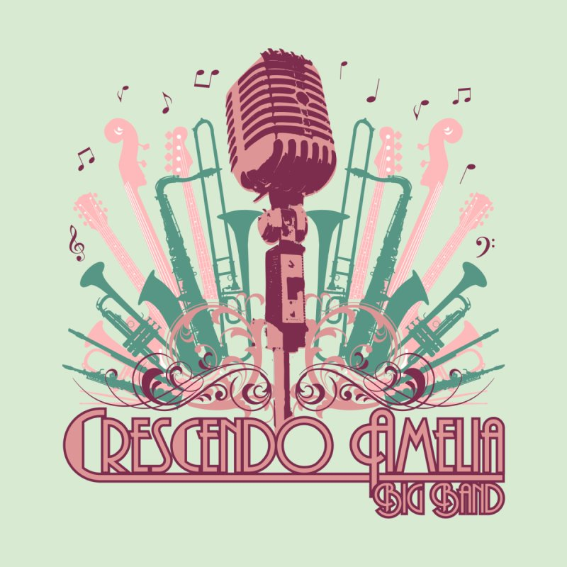 Crescendo Amelia Big Band - Microphone Pink Kids Longsleeve T-Shirt by Crescendo Amelia Merchandise