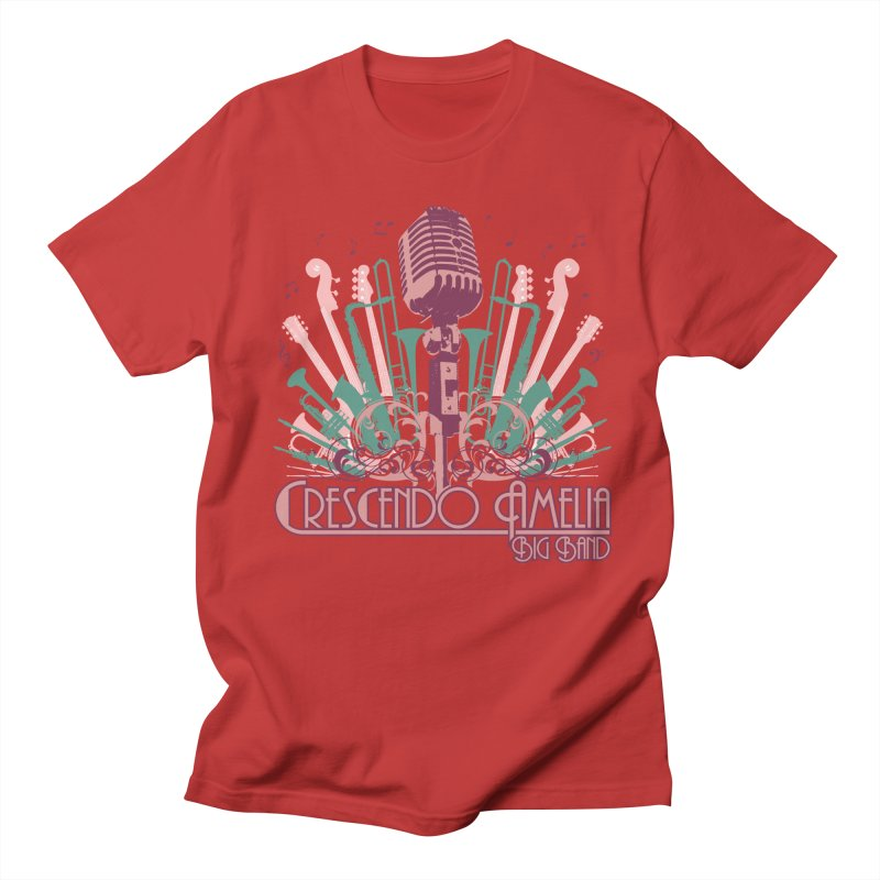 Crescendo Amelia Big Band - Microphone Pink Men's T-Shirt by Crescendo Amelia Merchandise