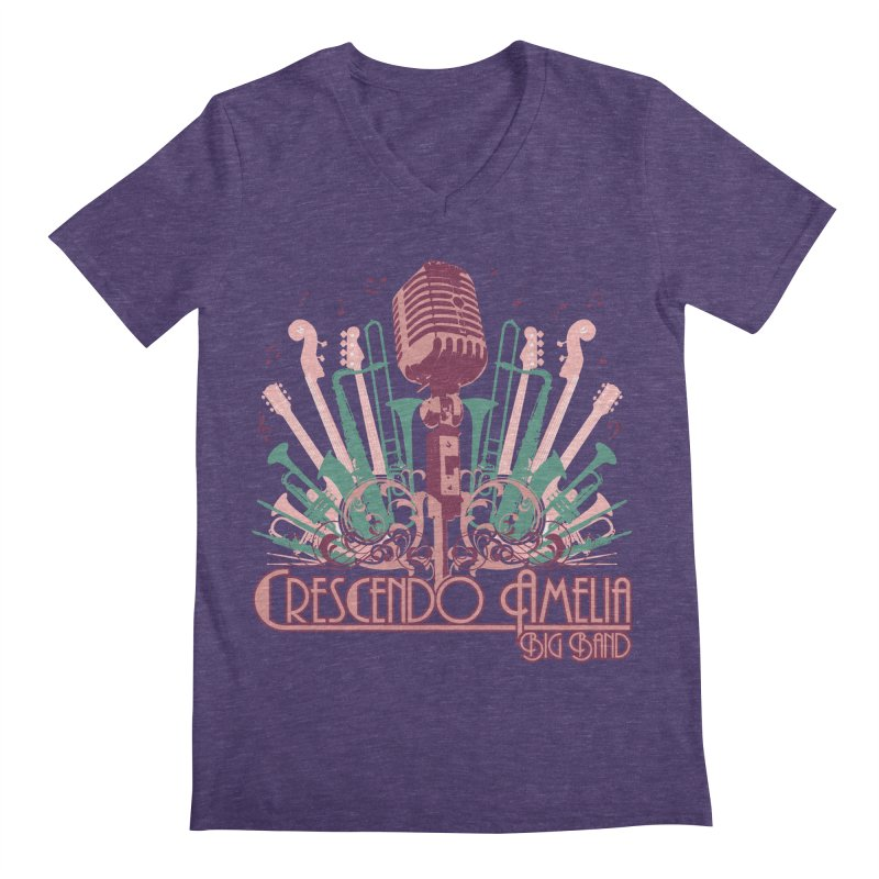 Crescendo Amelia Big Band - Microphone Pink Men's V-Neck by Crescendo Amelia Merchandise