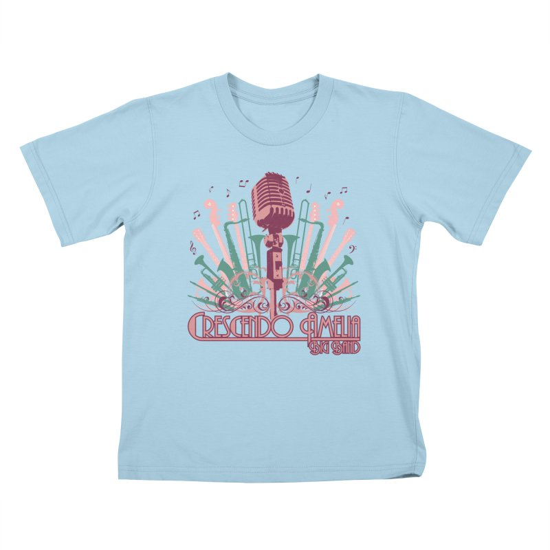 Crescendo Amelia Big Band - Microphone Pink Kids T-Shirt by Crescendo Amelia Merchandise