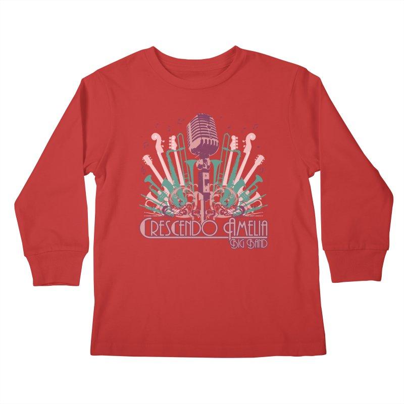 Crescendo Amelia Big Band - Microphone Pink Kids Longsleeve T-Shirt by Crescendo Amelia Merchandise