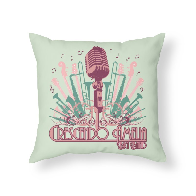 Crescendo Amelia Big Band - Microphone Pink Home Throw Pillow by Crescendo Amelia Merchandise
