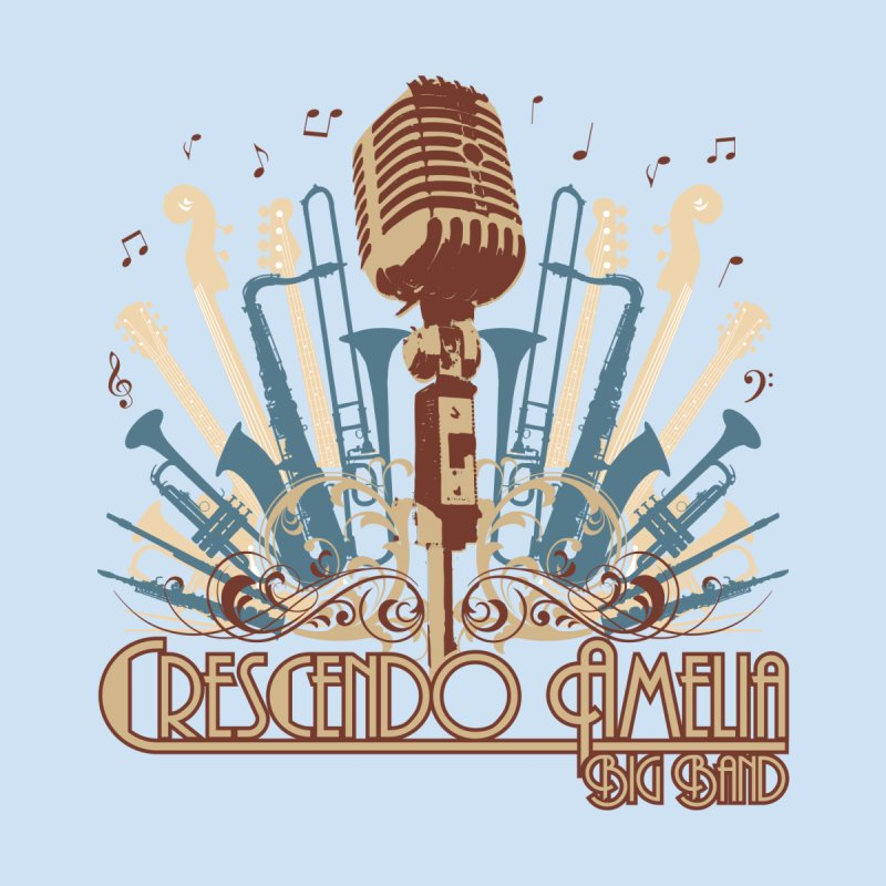 Crescendo Amelia Big Band - Microphone Brown Men's T-Shirt by Crescendo Amelia Merchandise