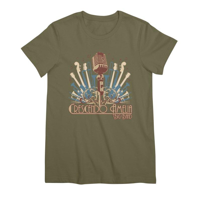 Crescendo Amelia Big Band - Microphone Brown Women's Premium T-Shirt by Crescendo Amelia Merchandise