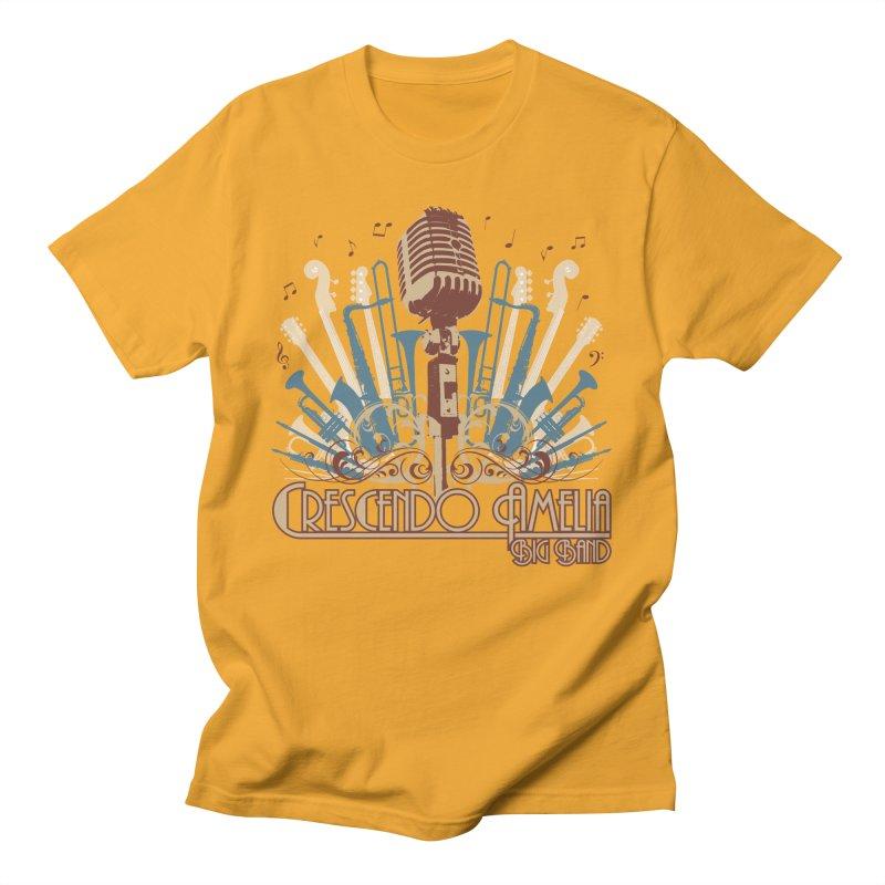Crescendo Amelia Big Band - Microphone Brown Men's T-Shirt by Crescendo Amelia Merchandise
