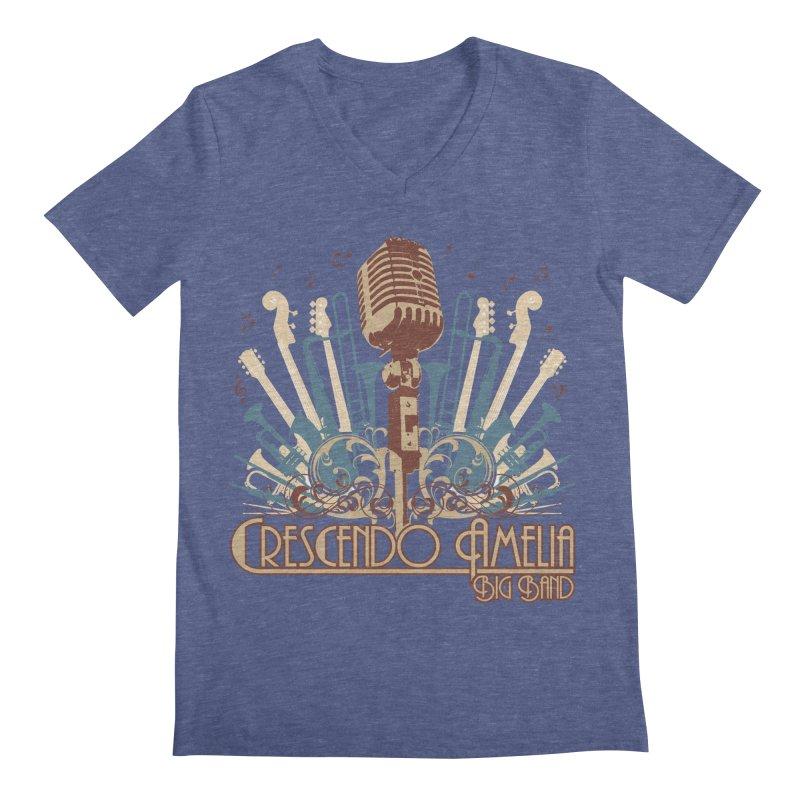 Crescendo Amelia Big Band - Microphone Brown Men's V-Neck by Crescendo Amelia Merchandise