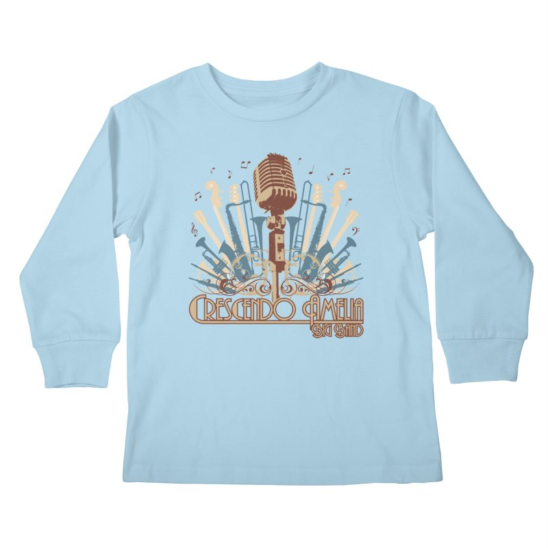Crescendo Amelia Big Band - Microphone Brown Kids Longsleeve T-Shirt by Crescendo Amelia Merchandise