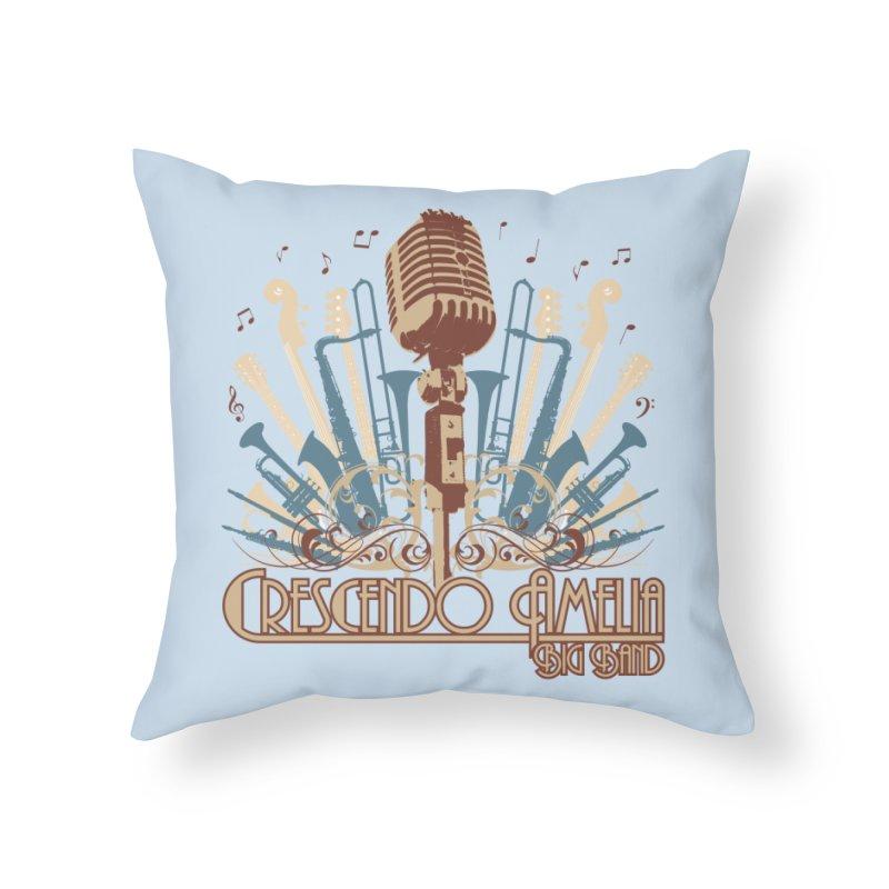 Crescendo Amelia Big Band - Microphone Brown Home Throw Pillow by Crescendo Amelia Merchandise