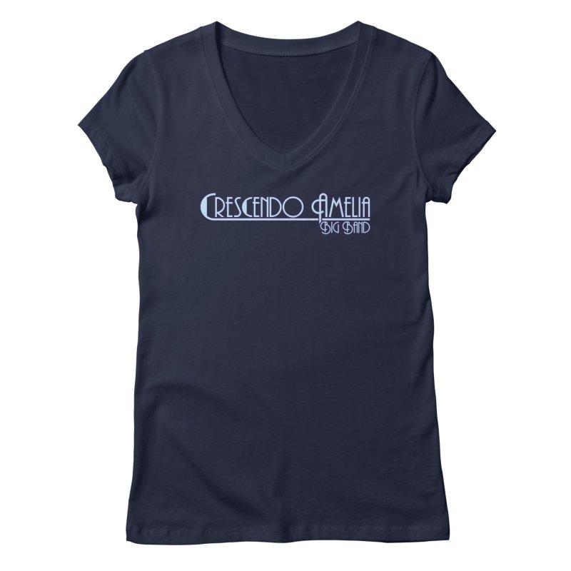 Crescendo Amelia Big Band - Purple Logo Women's V-Neck by Crescendo Amelia Merchandise