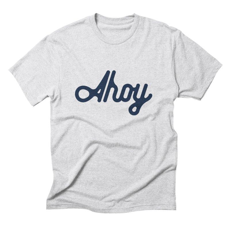 Ahoy – blue script Men's T-Shirt by C R E W