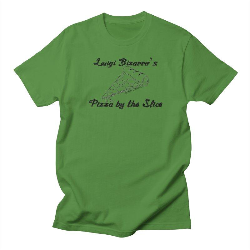 Luigi Bizarro's Pizza by the Slice Men's Regular T-Shirt by True Crime Comedy Team Shop