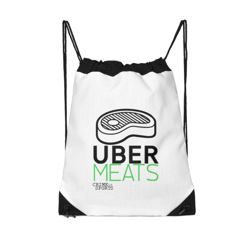uber meats Accessories Drawstring Bag Bag by True Crime Comedy Team Shop