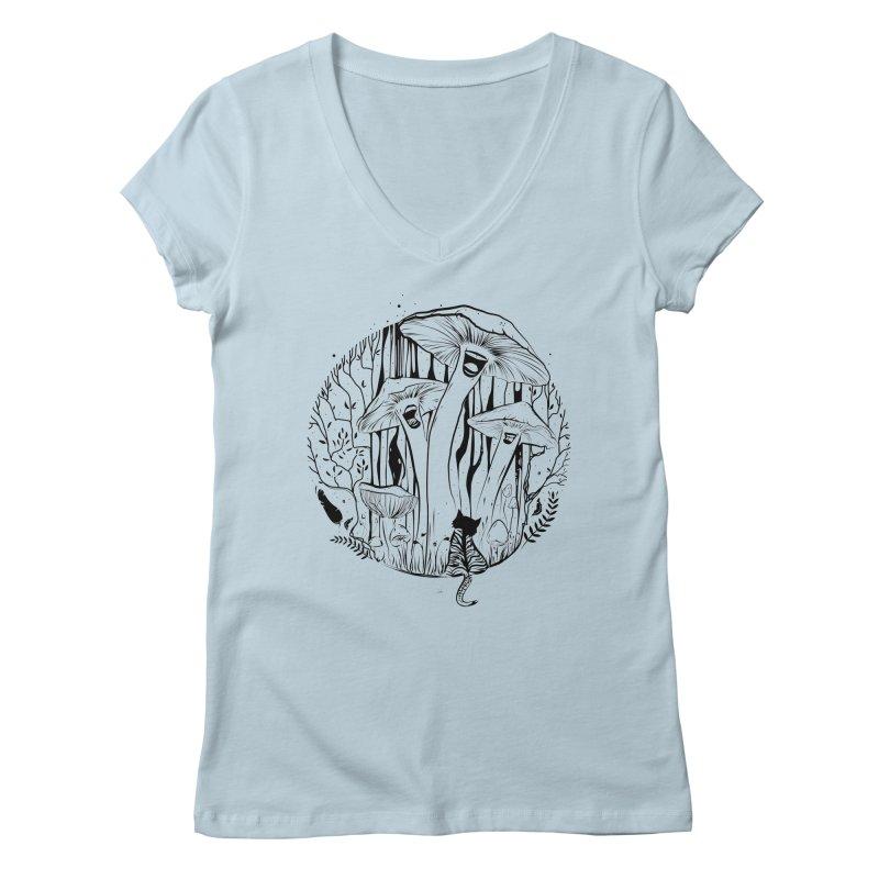 The Singing Mushrooms & The Zebra Cat Women's V-Neck by cristinastefan's Artist Shop