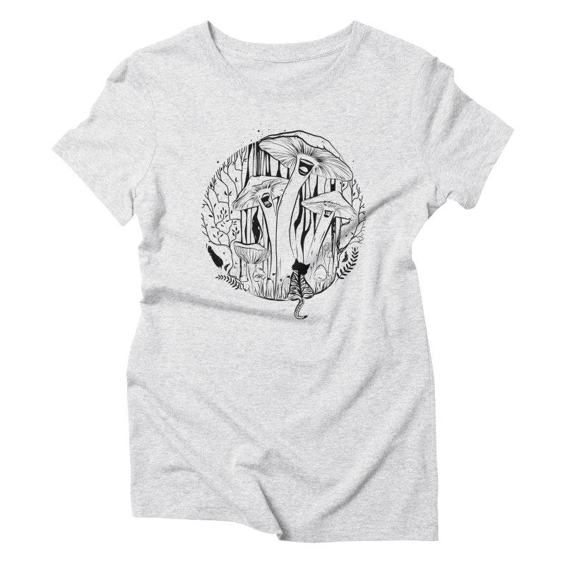 The Singing Mushrooms & The Zebra Cat Women's T-Shirt by cristinastefan's Artist Shop