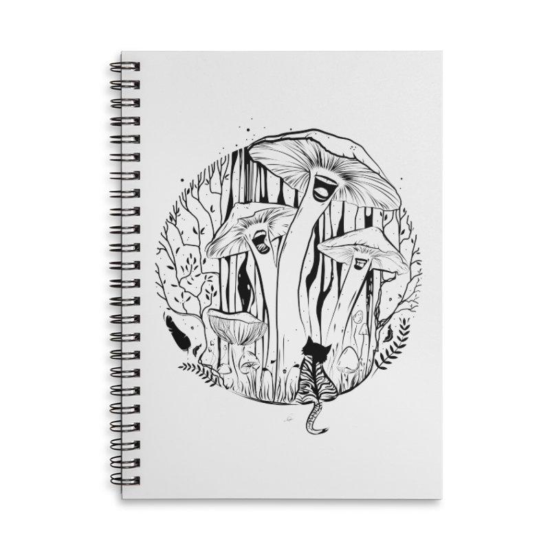 The Singing Mushrooms & The Zebra Cat Accessories Notebook by cristinastefan's Artist Shop