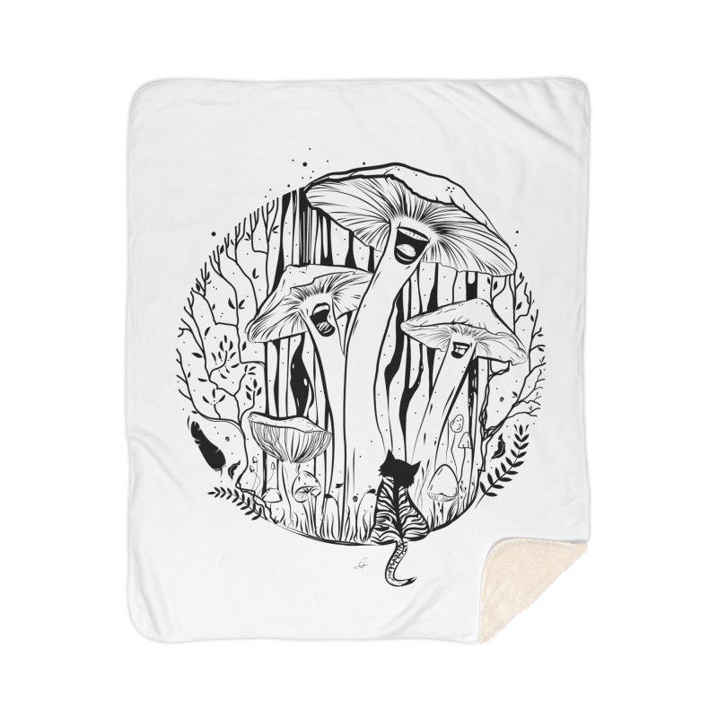 The Singing Mushrooms & The Zebra Cat Home Blanket by cristinastefan's Artist Shop