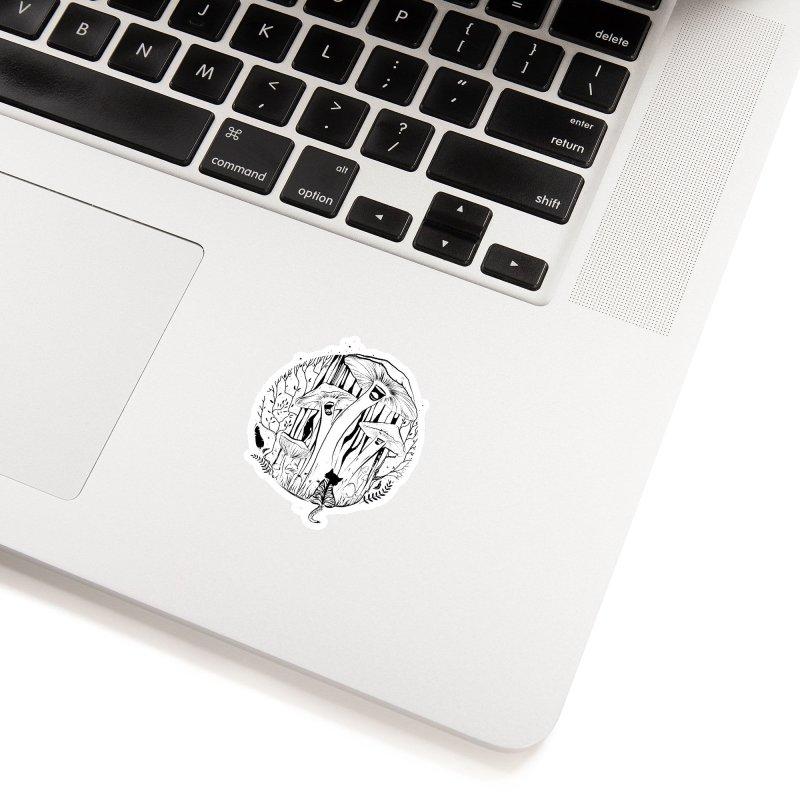 The Singing Mushrooms & The Zebra Cat Accessories Sticker by cristinastefan's Artist Shop
