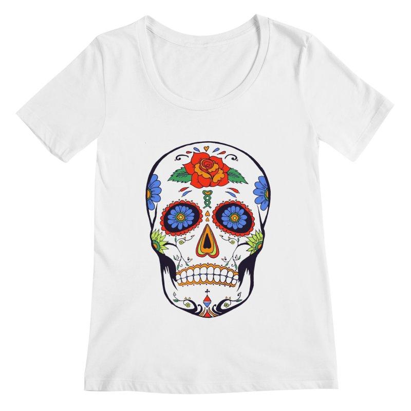 Sugar skull Women's Scoopneck by cristiscg's Artist Shop