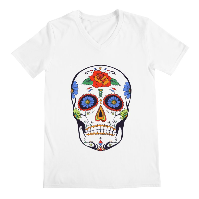 Sugar skull Men's V-Neck by cristiscg's Artist Shop