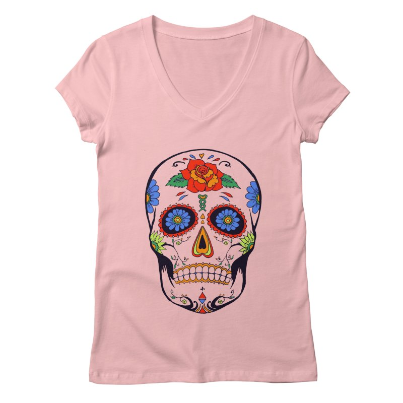 Sugar skull Women's V-Neck by cristiscg's Artist Shop