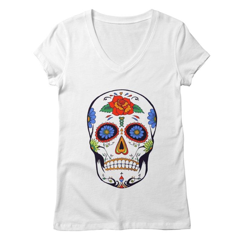 Sugar skull Women's V-Neck by cristiscg's Artist Shop