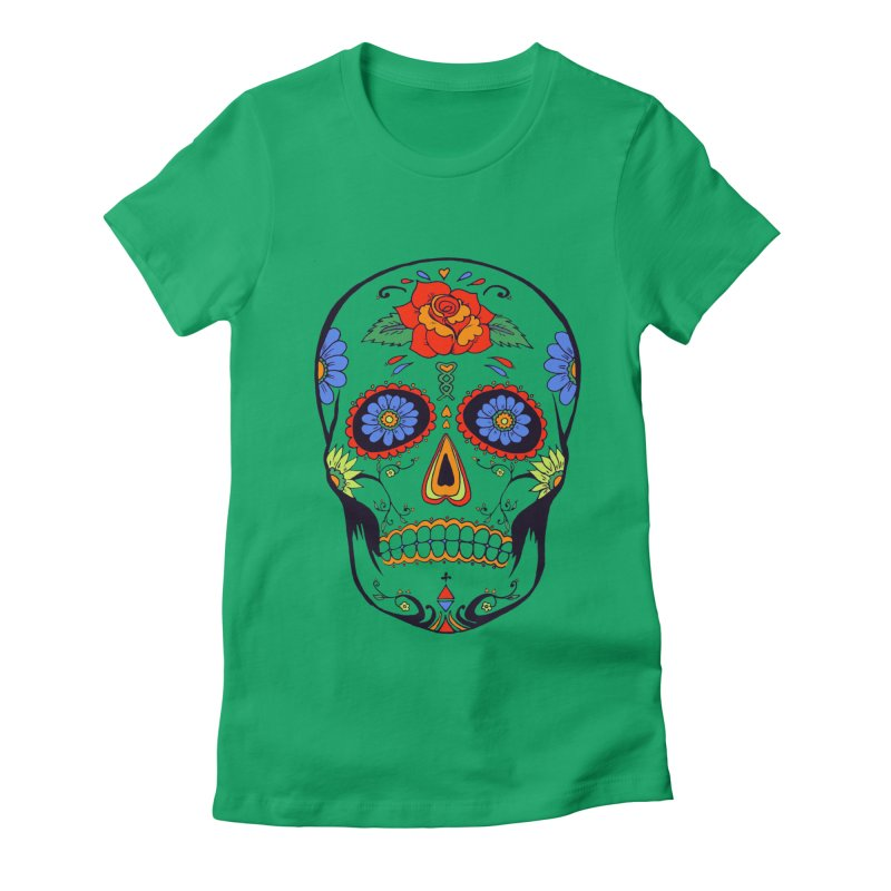 Sugar skull Women's Fitted T-Shirt by cristiscg's Artist Shop