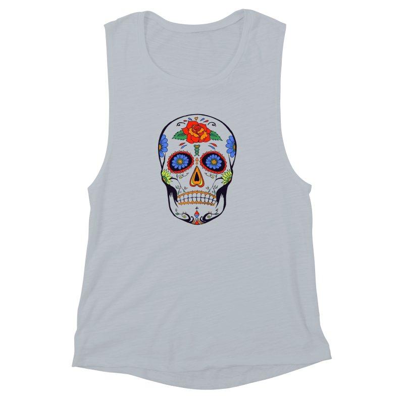 Sugar skull Women's Muscle Tank by cristiscg's Artist Shop