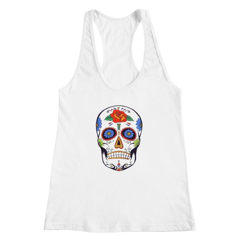 Sugar skull Women's Racerback Tank by cristiscg's Artist Shop