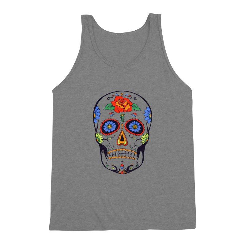 Sugar skull Men's Triblend Tank by cristiscg's Artist Shop