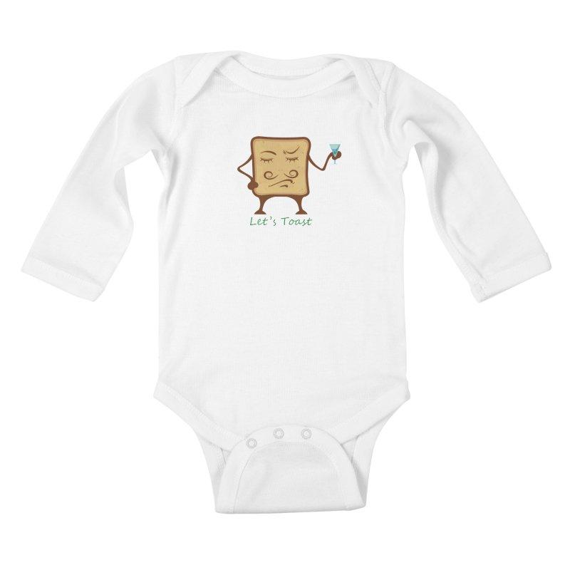 Toast Kids Baby Longsleeve Bodysuit by cristiscg's Artist Shop
