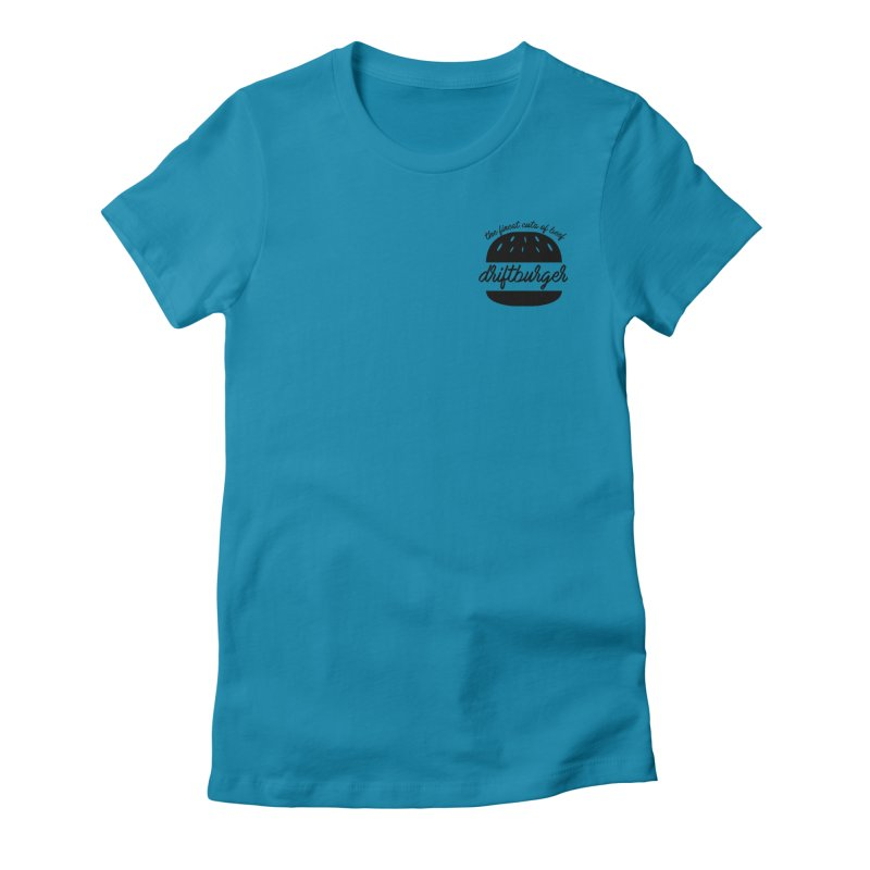 The Finest Cuts - Driftburger Black Women's Fitted T-Shirt by Cromwave Autowerks