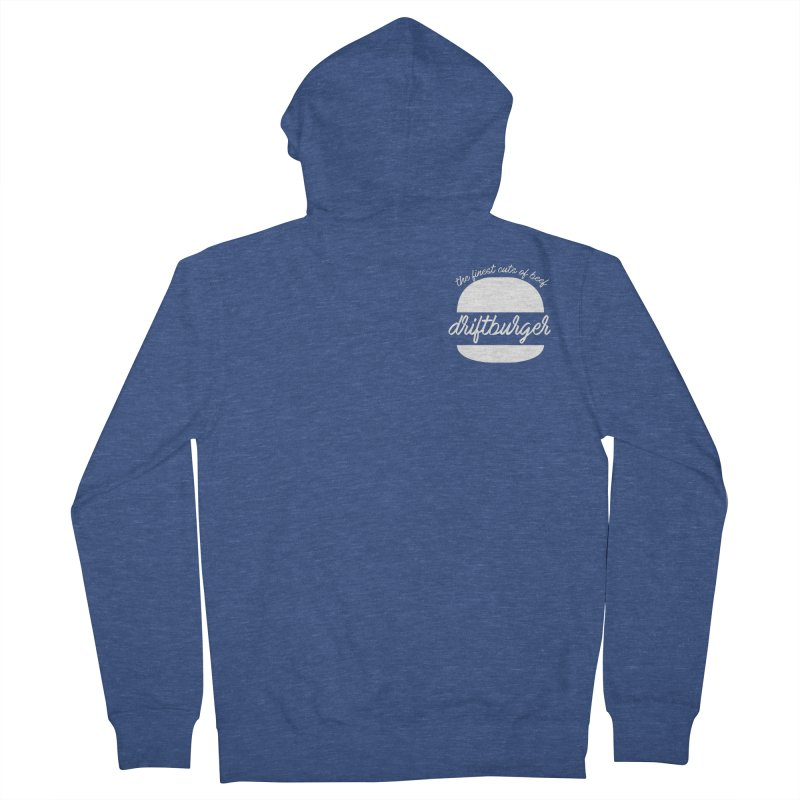 Finest Cuts - Driftburger White Men's French Terry Zip-Up Hoody by Cromwave Autowerks