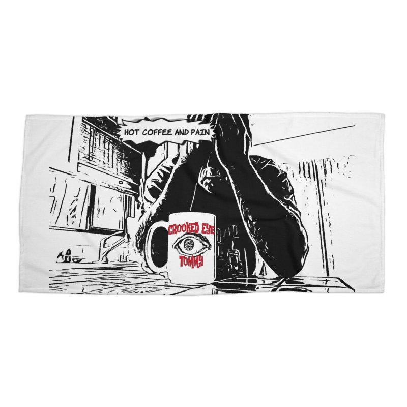 Hot Coffee & Pain Cover artwork Accessories Beach Towel by Crooked Eye Swag Shop