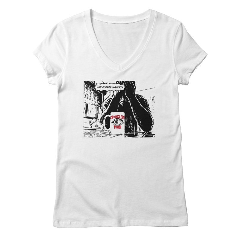 Hot Coffee & Pain Cover artwork Women's V-Neck by Crooked Eye Swag Shop