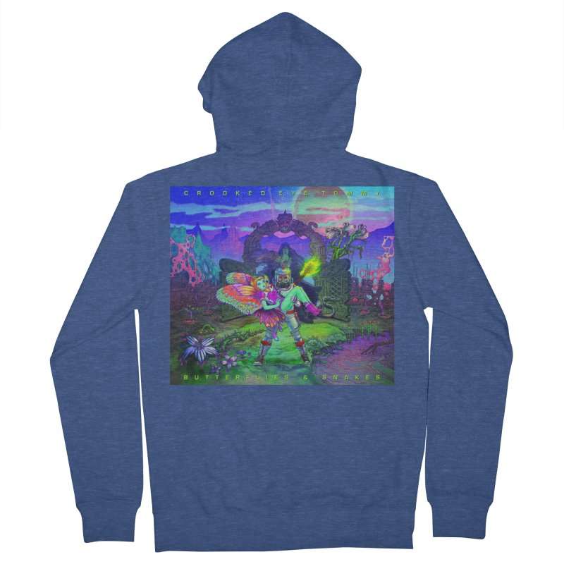 Butterflies & Snakes Cover Men's French Terry Zip-Up Hoody by Crooked Eye Swag Shop
