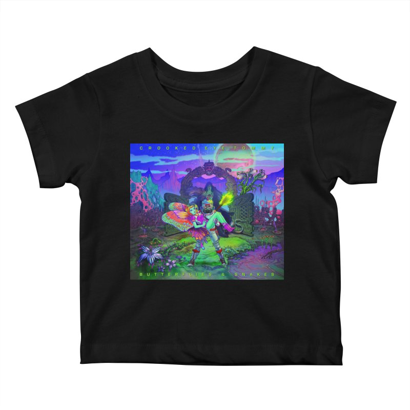 Butterflies & Snakes Cover Kids Baby T-Shirt by Crooked Eye Swag Shop