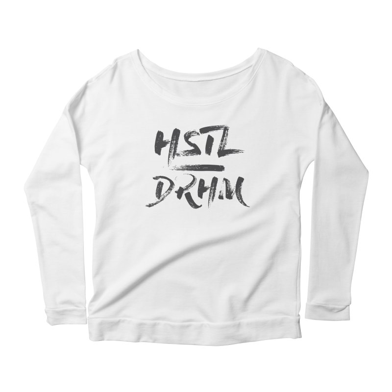 HUSTL DRHM (grey) Women's Scoop Neck Longsleeve T-Shirt by CrossFit Durham