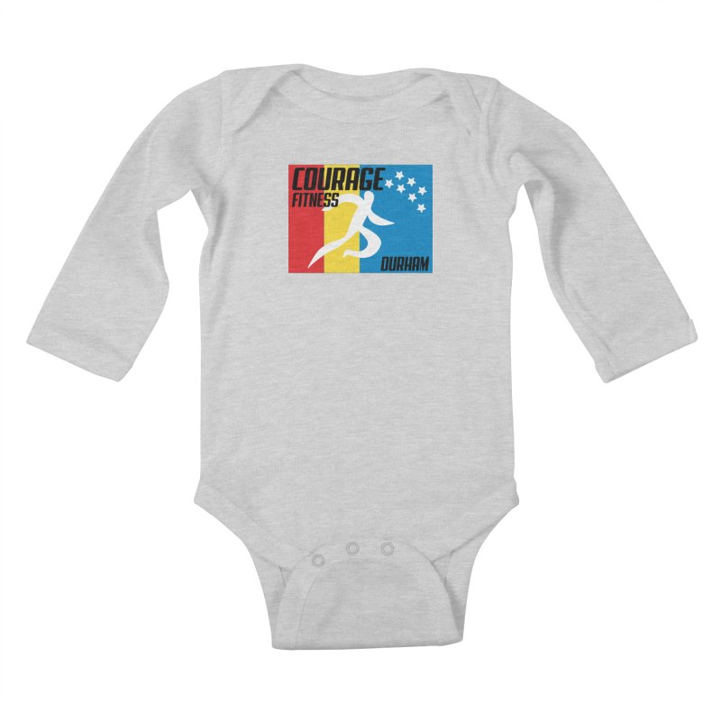 Durham Flag Kids Baby Longsleeve Bodysuit by Courage Fitness Durham