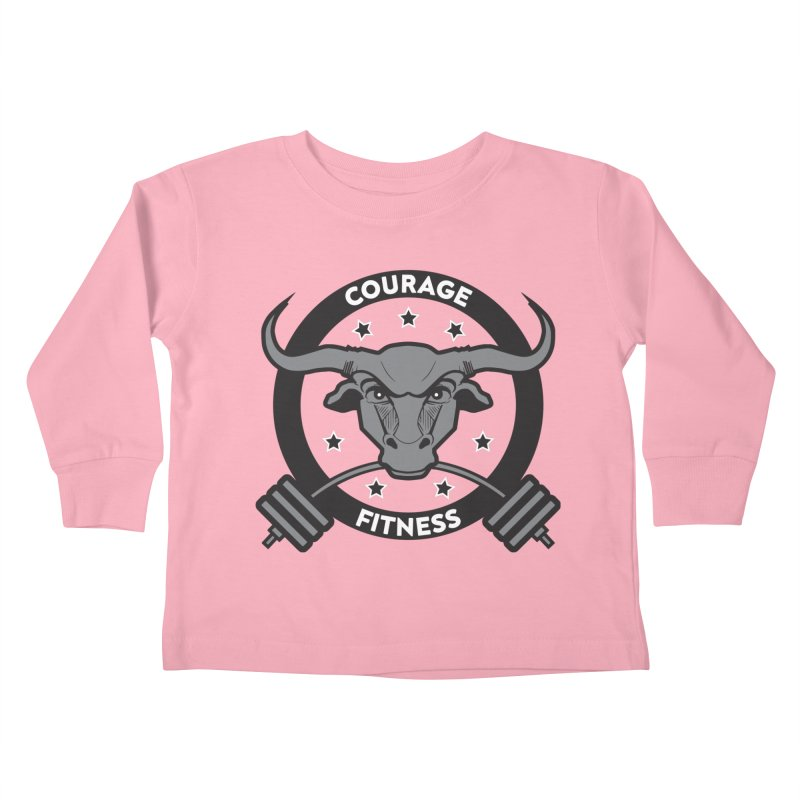 Courage Fitness B&W Kids Toddler Longsleeve T-Shirt by Courage Fitness Durham