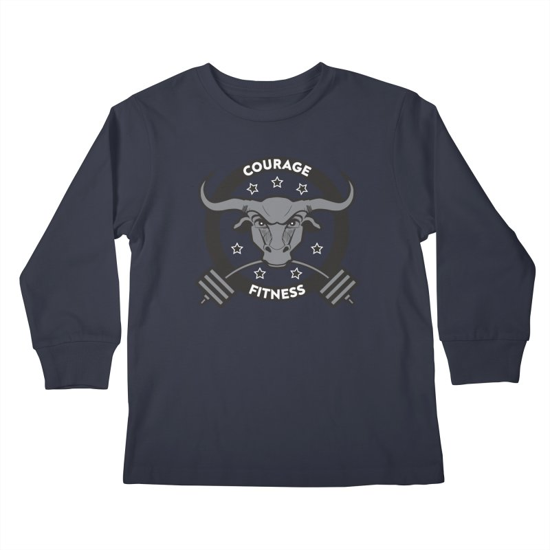 Courage Fitness B&W Kids Longsleeve T-Shirt by Courage Fitness Durham
